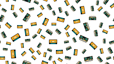 Texture seamless pattern from old vintage retro hipstersih stylish isometric music audio tape recorder for listening to audio cassettes from the 70's, 80's, 90's. The background. Vector illustration. Çizim