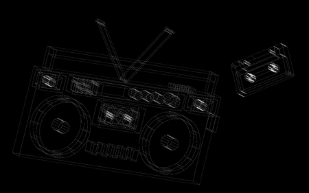 Abstract painted lines black and white retro radio tape recorder musical. Vector illustration. Illustration