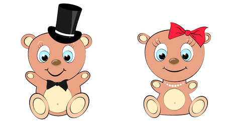 Two cute, beautiful, brown bear girl and boy with big head and blue eyes in a cylinder and bow tie, bow and pearl necklace on white background and copy space. Vector illustration Stock Illustratie