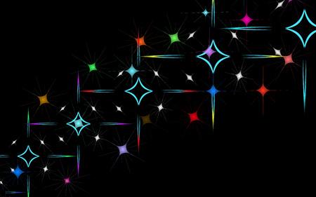 Textura abstracta de inusuales hermosos fuegos artificiales brillantes de saludos de explosiones y estrellas y rombos de cuadrados de energía mágica multicolor. El fondo. Ilustración vectorial Ilustración de vector