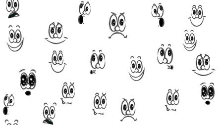 Texture seamless pattern of various black and white emotions: joy, smile, anger, delight, discontent, playfulness, fun, surprise, pleasure. A set of people with children's emotions. Vector. Ilustração Vetorial