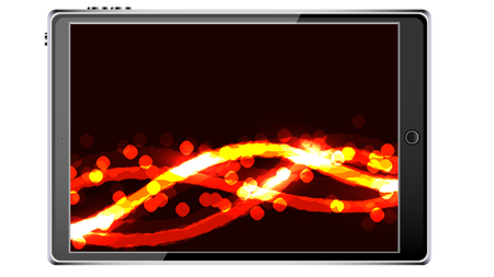 Black smart tablet smartphone with touchscreen, modern realistic mobile device with abstract magic energy splash, wallpaper isolated on white background. Vector illustration. Illustration