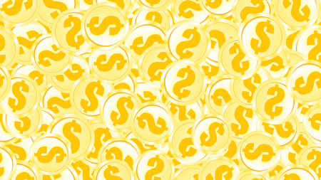 Texture seamless pattern of metal iron gold orange yellow coins money round abstract dollars. The background. Vector illustration. Illustration