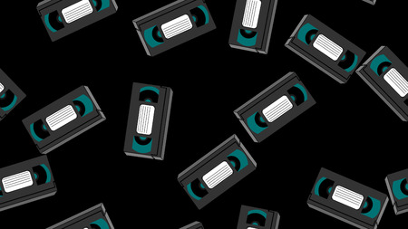 Texture, seamless pattern of old retro wines gray antique analog hipster film video cassettes for a video recorder with a magnetic film for watching movies.