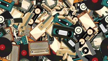 Texture, seamless pattern of old retro hipster electronics, mobile phones, tv recorder, player, audio tape, video recorder, game console, camera, computer. The background. Vector illustration. Ilustrace