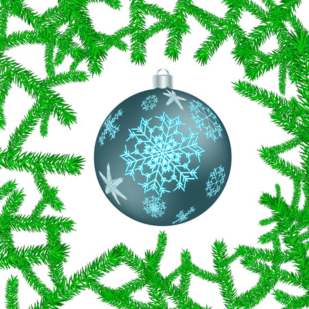 Beautiful festive Christmas postcard with a New Year's round blue ball, a Christmas tree decoration with patterns of snowflakes in green Christmas-tree branches isolated on a white background. Vettoriali