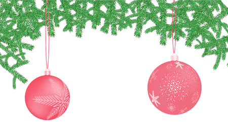 Beautiful festive Christmas postcard with New Year round pink balls, Christmas decorations with snowflake patterns in spruce branches on an isolated white background.