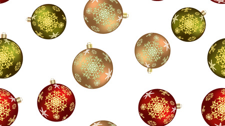 Festive beautiful Christmas winter texture, gift wrapping a seamless pattern for the New Year from multicolored round balls, Christmas tree decorations with a pattern of snowflakes. Vector background. Stock Illustratie