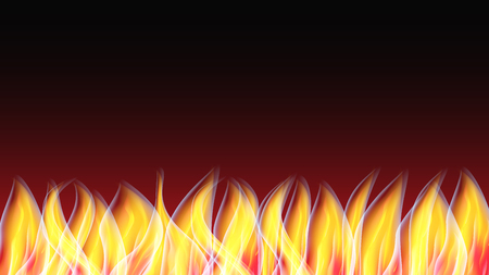 Beautiful abstract glowing texture of a hot shiny red orange burning fire with tongues of flame and smoke and copy space on a black background. Vector illustration. Illustration