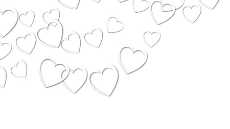 Beautiful abstract texture of white hearts with shadows for happy valentine's day on a white background. Vector illustration. Concept: love, a gift to the beloved.