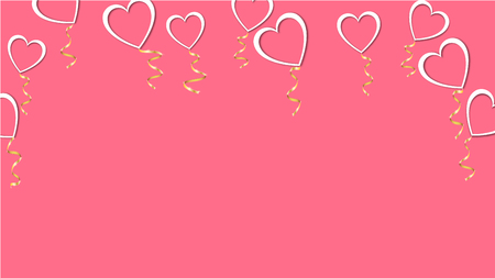 Beautiful abstract texture of white balloons in the shape of hearts with shadows and a golden ribbon for Happy Saint Valentine's Day on a pink background. Vector illustration. Concept: love.
