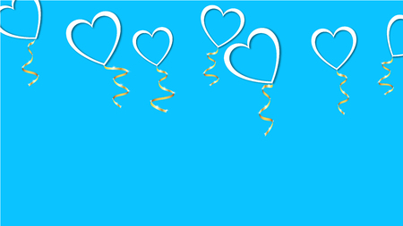 Beautiful abstract texture of white balloons in the shape of hearts with shadows and a golden ribbon for Happy Valentine's Day on a blue background. Vector illustration. Concept: love.