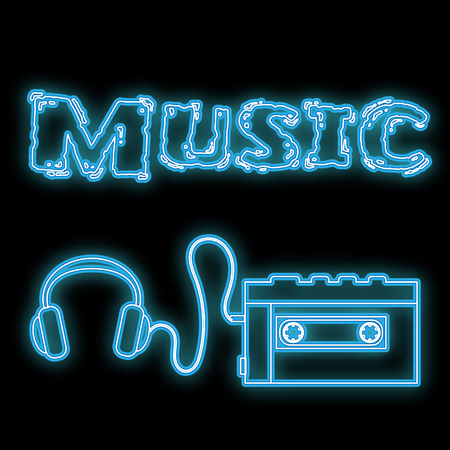 A beautiful abstract neon bright glowing icon, a signboard from an old retro cassette player with headphones from the 70s, 80s, 90s and the inscription music copy space on a black background. Vector.