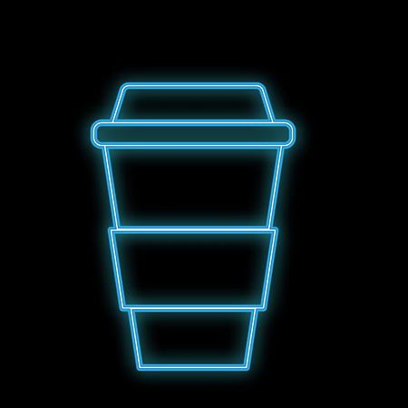 A simple abstract neon bright glowing blue icon flashing out of hot delicious coffee in a thermocup, paper cup for carrying out and copy space on a white background. Vector illustration.