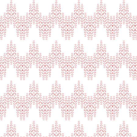 Texture pattern of red festive hearts arranged in a wave, zigzag for Valentines Day, Mothers Day, Womens Day and copy space on a white background. Vector illustration. Stock Illustratie