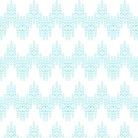 Texture pattern of blue holiday hearts arranged in a wave, zigzag for Valentines Day, Mothers Day, Womens Day and copy space on a white background. Vector illustration. Illustration