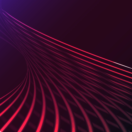 Beautiful purple pink abstract magical energy electric spiral twisted cosmic fire lattices of lines, stripes, sticks, rods of brilliant glowing on a purple background. Vector illustration. Texture.