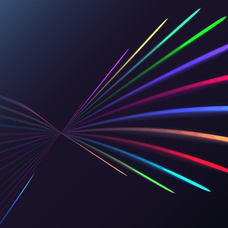 Spirale électrique d'énergie magique abstraite multicolore tordue des lignes parallèles de feu cosmiques, des rayures brillantes, des rayons de lumière sur un fond coloré. Illustration vectorielle. Texture.