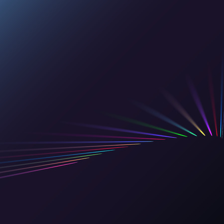 Multicolored abstract magic energy electrical spiral twisted cosmic fiery parallel lines, stripes shining glowing, rays of light on a colored background. Vector illustration. Texture.