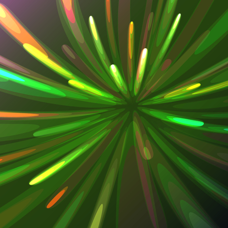 Multicolored abstract glowing festive salute, fireworks, magical energy, brilliant electric cosmic fiery of lines, stripes, rays of light on a colored background. Vector illustration. Texture.