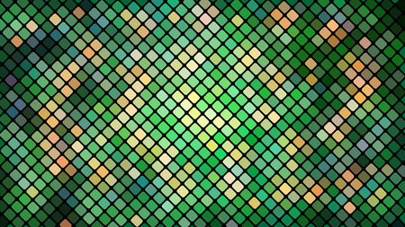 Multicolored abstract background of green squares, rhombuses, rectangles tiles, mosaic with seams of glowing magical energy shiny bright beautiful. Vector illustration. Texture. Vectores