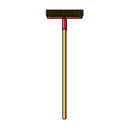 Construction crane-yellow icon of a long mop, brushes with a wooden handle designed for cleaning, washing floors. Construction tool. Vector. Illustration