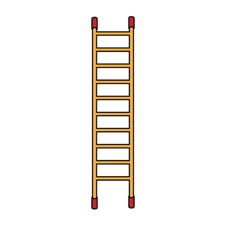High brown and red wooden icon of a fiberglass dielectric die ladder with steps for elevation. Construction tool. Vector.