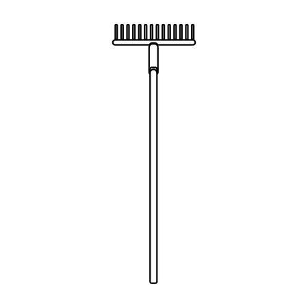 Construction black and white icon of an agricultural rake intended for cleaning leaves. Construction tool. Vector illustration. Ilustrace