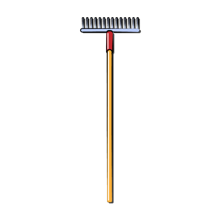 Construction yellow and red icon of an agricultural rake by a wooden handle intended for cleaning leaves. Construction tool. Vector illustration.