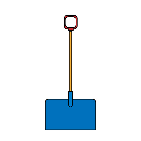 Icon of building a beautiful shovel with a wooden handle for cleaning snow. Garden snowblower on a white background. Vector illustration.