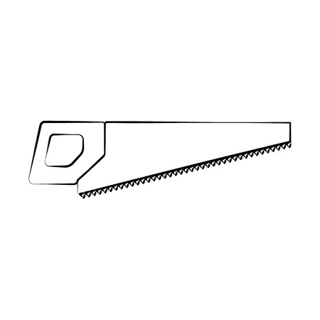 A sharp construction black and white icon of a hand saw, a hacksaw with teeth and a handle for cutting wood. Construction tool. Vector illustration. Ilustracja