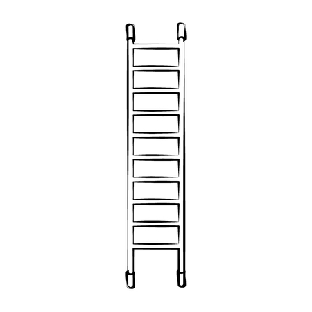 High black and white wooden icon of a fiberglass dielectric ladder with steps for elevation. Construction tool. Vector.