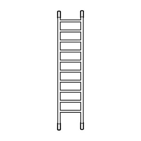 High black and white wooden icon of a fiberglass dielectric ladder with steps for elevation. Construction tool. Vector illustration on white background.