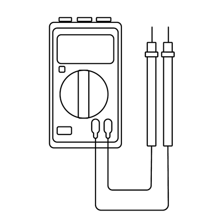 A small black and white electricity meter, tester, digital multimeter, for measuring AC, DC voltage, current, resistance, wiring damage and connections. Construction tool. Vector illustration.