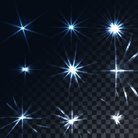 Ensemble de soleil transparent bleu lumineux et lumineux, fusées éclairantes, reflets de rayons énergétiques, étoiles sur fond noir translucide sombre et quadrillé à partir de carrés. Illustration vectorielle.