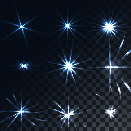 Set of bright luminous blue transparent sunshine, flares, glare of energy rays, stars on a translucent dark and checkered black background from squares. Vector illustration.