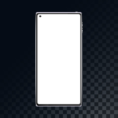 Mobile phone, smartphone on a translucent dark in a checkered gray background from squares. Vector illustration.