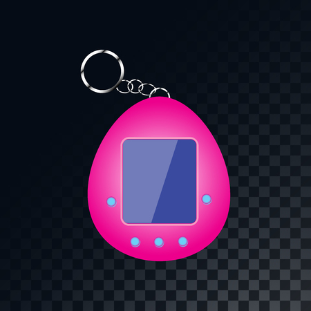 An old retro vintage electronic portable children's toy, Tamagotchi from the 70s, 80s, 90s on a translucent, dark, checkered gray background of squares. Vector illustration.