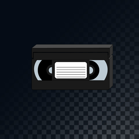 An old retro vintage analog videotape from the 70s, 80s, 90s on a translucent dark squared gray background of squares. Vector illustration.