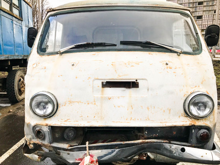 Old retro vintage hipster rusty oxidized metal round car minibus for hippies from the 60s, 70s, 80s, 90s, 2000s. Reklamní fotografie
