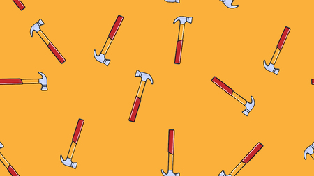 Texture, seamless pattern of metal red metalworking building repair hammers for hammering nails on a yellow background. Vector illustration.