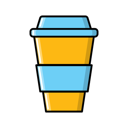 A glass of strong invigorating fragrant quick coffee in a cardboard takeaway cup icon on a white background. Vector illustration.