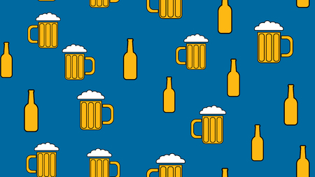 Texture seamless pattern from a set of rare good tasty refreshing alcoholic drinks of intoxicated light and dark malt foam beer in glasses, bottles on blue background. Vector illustration.