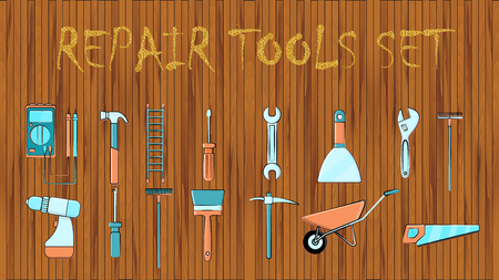Set of icons of building plumbing garden tools: shovel saw hammer brush rake trolley spatula, screwdriver pickaxe wrench on a wooden background with the inscription repair tool. Vector illustration.
