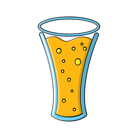 A glass of foamy barley light chilled light amber amber yellow hop alcoholic lager craft icon on a white background. Vector illustration.