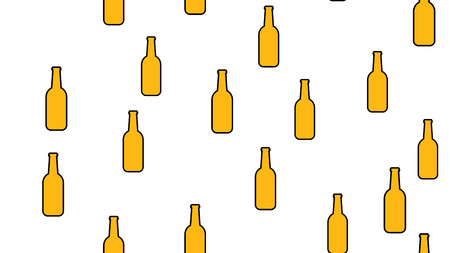 Texture seamless pattern from a set of raivy good tasty refreshing alcoholic drinks of hops light and dark malt foam beer in bottles on a white background. Vector illustration.