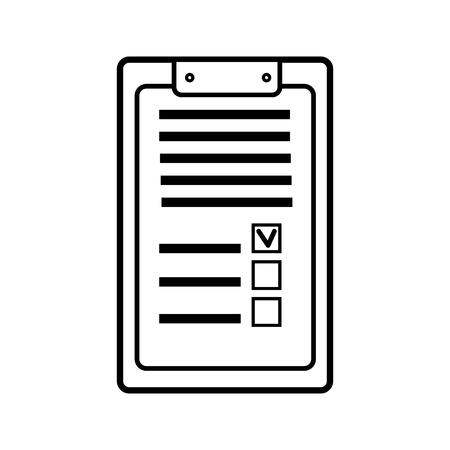 Rectangular paper business tablet for records with a clip, a medical notepad for prescriptions with a medical history, a simple black and white icon on a white background. Vector illustration. Illustration