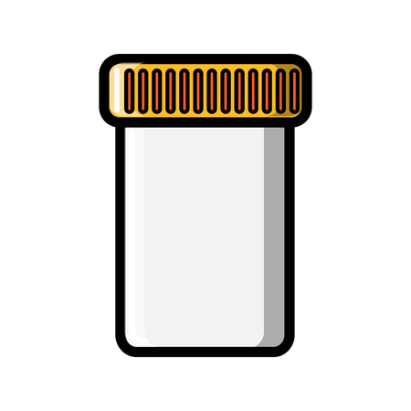 A small medical pharmacy jar with a lid for collecting tests or storing tablets, capsules, pills icon on a white background. Vector illustration. Vector Illustratie
