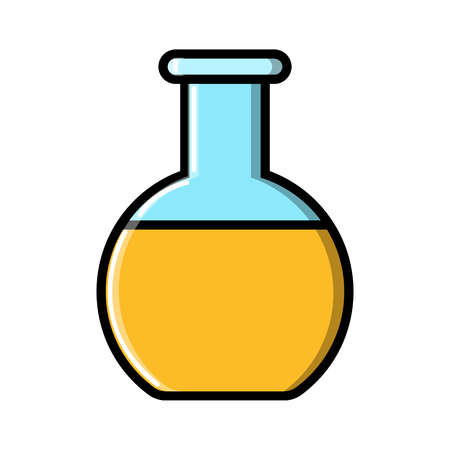 Medical research glass beaker, flask, test tube for research in the laboratory, the study of scientific drugs, icon on a white background. Vector illustration.