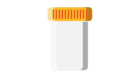 Beautiful medical plastic can with a lid white for tablets of capsules with drugs, for collecting analyzes of stool urine sperm for pharmaceutical tests on a white background. Vector illustration.